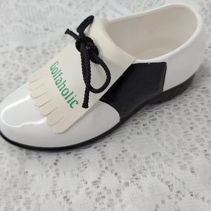 Porcelain accent piece display golf shoe golfers